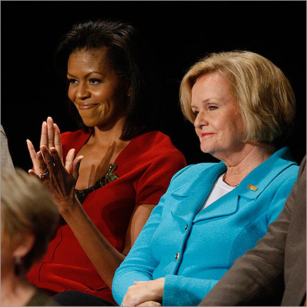 Left to right, Michelle Obama, Barack's wife, and Senator Claire McCaskill, a national co-chair of Obama's campaign, sat before the debate.