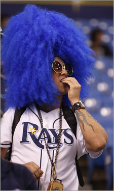 A Rays fan sported a blue wig in the stands prior to Game 1 of the ALCS.