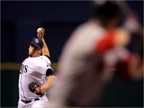 James Shields (left) pitched to Dustin Pedroia (right) in the first inning.
