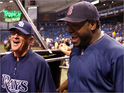 Red Sox slugger David Ortiz (right) shared a laugh with Rays manager Joe Maddon (left) during batting practice.