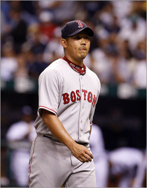 Red Sox Game 1 starter Dice-K Matsuzaka walked off the mound after getting through a shaky first inning where he allowed three walks, but no score.