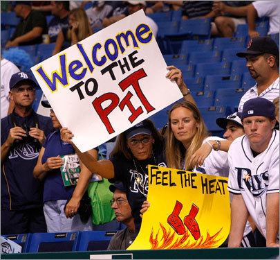 Rays fans held up signs during batting practice.