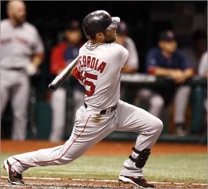 Red Sox second baseman Dustin Pedroia stroked a solo home run in the third inning.