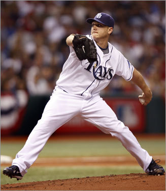 Rays starter Scott Kazmir delivered a pitch in Game 2 of the ALCS.