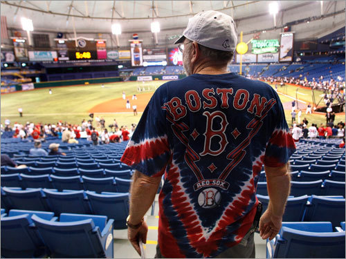 Red Sox fan Pat Compton of Port Richie, Fla. surveyed the scene inside Tropicana Field.