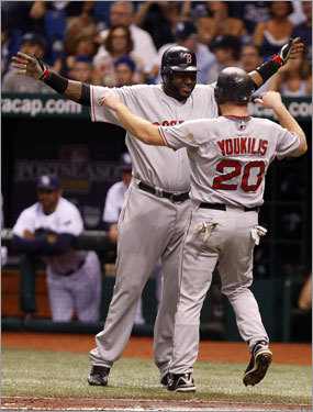 David Ortiz (left) and Kevin Youkilis (right) celebrated at home plate after scoring in the first inning.
