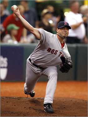 Red Sox starter Josh Beckett delivered a pitch in the first inning of Game 2.