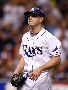 Rays starter Scott Kazmir walked off the mound after giving up two runs in the first inning.