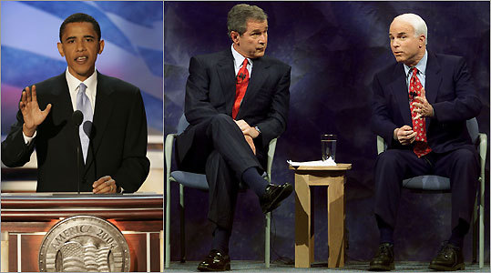 Barack Obama, George W. Bush, John McCain