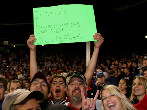 Red Sox fans had little to cheer about in Game 3, but one fan was excited to show his TBS-focused sign in the seventh inning.