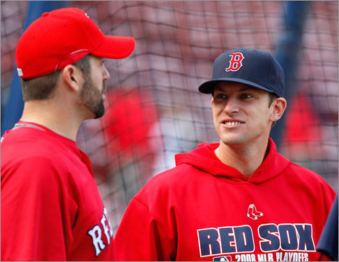 Jed Lowrie (right) was not in the starting lineup Monday, replaced at shortstop by Alex Cora.