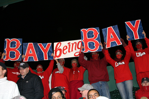 The K-men broke out the 'Bay Being Bay' lettering in the eighth inning of Game 3, but the Sox left fielder struck out to end the inning.