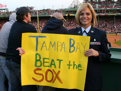 In the Monster seats, Hays unveiled her pro-Tampa Bay sign she hoped would get on TV.