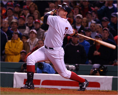 2003 ALDS Sox rally from 2-0 After the A's got an extra-innings win off Derek Lowe in Game 1 and beat Tim Wakefield in Game 2, Trot Nixon (pictured) electrified the Fenway crowd with a walk-off homer in the 11th inning of Game 3. David Ortiz's two-double sparked the Sox to a win in Game 4, and Derek Lowe froze the A's in Game 5 to close out the series.