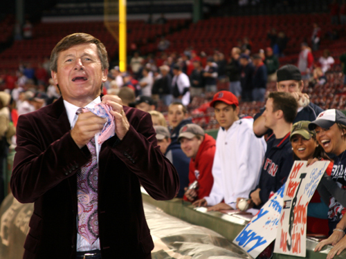 Sager said he left clothes in Boston after the ALDS, but he went shopping for fresh threads for Game 4. 'I went shopping today, to LouisBoston and Neiman Marcus,' Sager said. '[Kevin] Youkilis got on me last night. He said I had Tampa Bay colors on.' Sager wore a blue striped sportcoat for Game 3 .