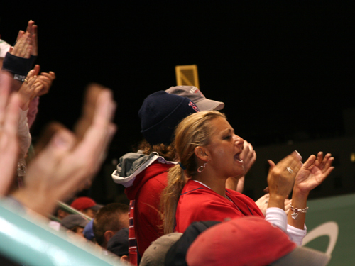 Fans on the left field deck did their part to rally the Sox in Game 4.