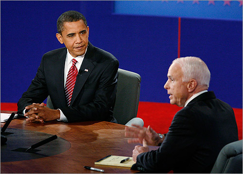 As he has in the past, Obama tried to align McCain with the unpopular President Bush.