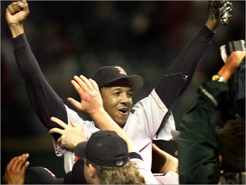 1999 ALDS Sox rally from 2-0 The Indians took a two-games-to-none lead on the Red Sox, but Boston pounded Cleveland in Games 3 and 4, then got six no-hit innings of relief from Pedro Martinez (pictured), pitching on two days of rest, to win a decisive Game 5.