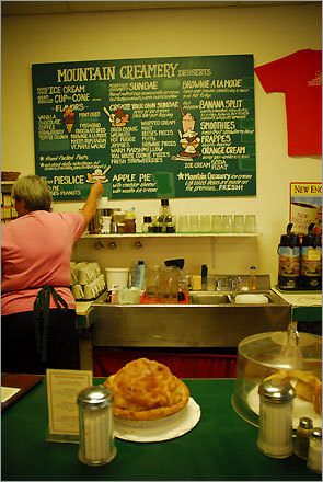The Mountain Creamery is famous for its apple pies.
