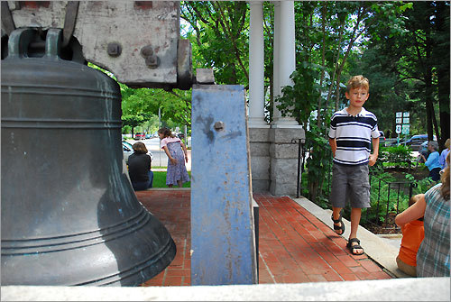 A Paul Revere church bell in Woodstock, one of four in the town.