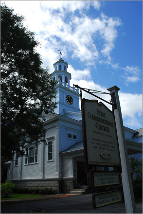 The First Congregational Church in Woodstock, where Laurance Rockefeller and Mary Billings French were married in 1934.