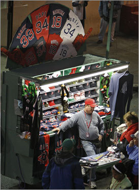 A souvenir stand was active on Yawkey Way before Game 5.
