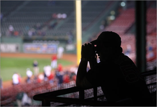 A Red Sox fan watched warmups prior to Game 5.