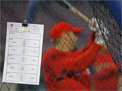 Red Sox catcher Jason Varitek took some cuts in the cage during batting practice.