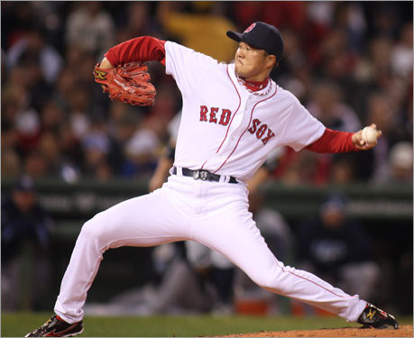 Red Sox reliever Hideki Okajima delivered a pitch in the fifth inning.
