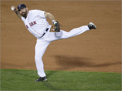 Kevin Youkilis faked a throw to first in the fifth inning.