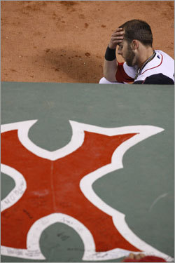 Dustin Pedroia appeared distraught at the top of the dugout in the fifth inning.