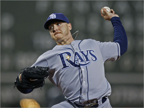 Rays starter Scott Kazmir pitched in the sixth inning.