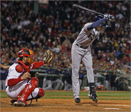 Rays center fielder B.J. Upton avoided an inside fast ball form Jonathan Papelbon (not pictured) in the seventh inning.