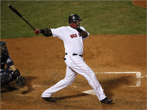 After Pedroia's hit, Red Sox DH David Ortiz stroked a three-run home run in the seventh inning (which scored Coco Crisp and Pedroia). The shot made the score 7-4 Rays. It was just his second hit of the series.