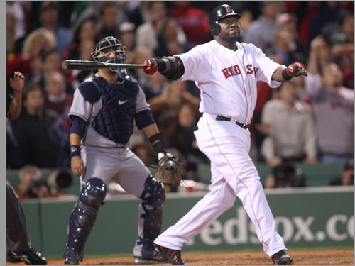 David Ortiz watched the flight of his three-run home run.