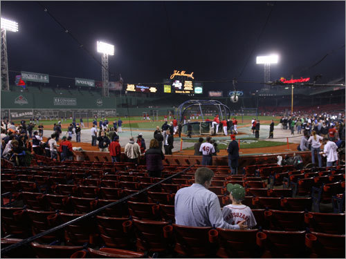 Fans assembled at Fenway Park prior to Game 5 of the ALCS.