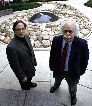 Two local criminal experts, James Alan Fox (left) and Jack Levin, created the 'Immoral Boston' tour for a recent sociology conference.