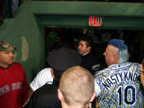 Knobbs has one final exchange with a Red Sox fan before hitting the streets.
