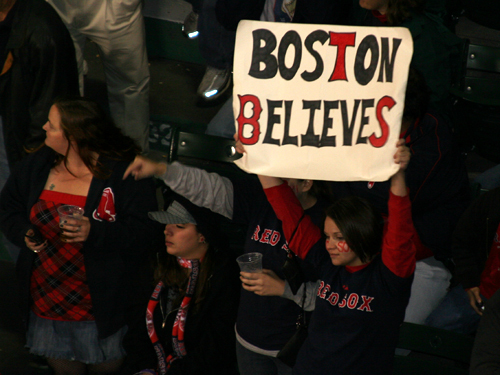 These fans in the bleachers kept the faith even while the Red Sox struggled through the first six innings of Game 5.