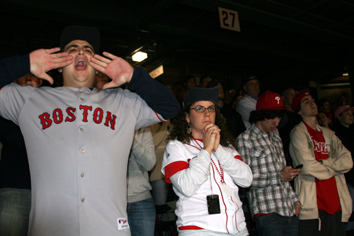 The Fenway Faithful cranked up the noise with loud chants of 'Wheel-er' and 'How-ell' to help rattle the Rays relievers in the eighth and ninth innings. But the nearby Phillies fans don't seem to care how Game 5 ends as their team is already in the World Series.