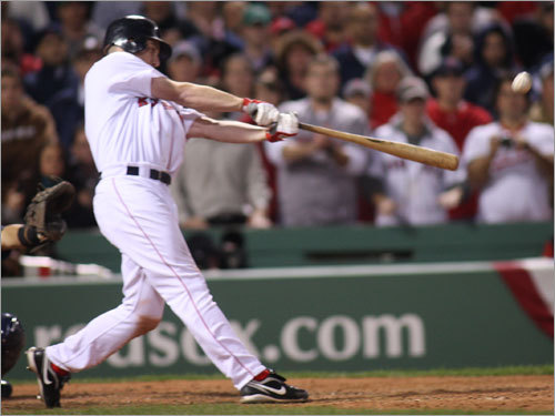 After Jason Bay walked on four pitches to lead off the bottom of the eighth, right fielder and frequent postseason hero J.D. Drew connected on a two-run home run in the eighth inning. The shot left the Red Sox trailing by just one run, 7-6.