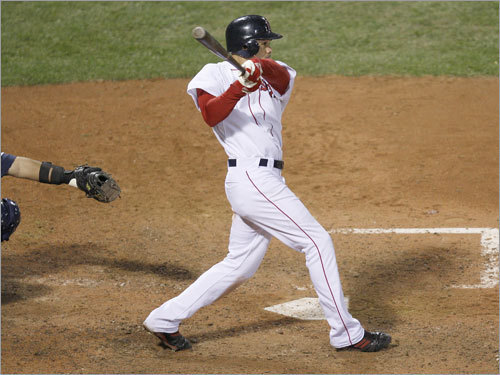 On the 10th pitch of his at bat, Crisp stroked a two-out single that scored Kotsay with the tying run in Game 5 of the ALCS at Fenway Park.