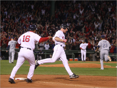 Fenway fans went wild as J.D. Drew rounded first after his game-winning hit in the bottom of the ninth inning.