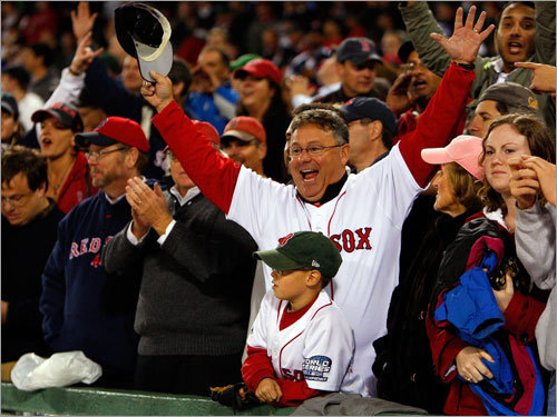 Red Sox fans cheered the defending champs after Boston came back from a 7-0 hole in the seventh inning to win 8-7.