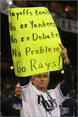 A little hubris? This fan's sign seems to take the Sox lightly in Game 5.