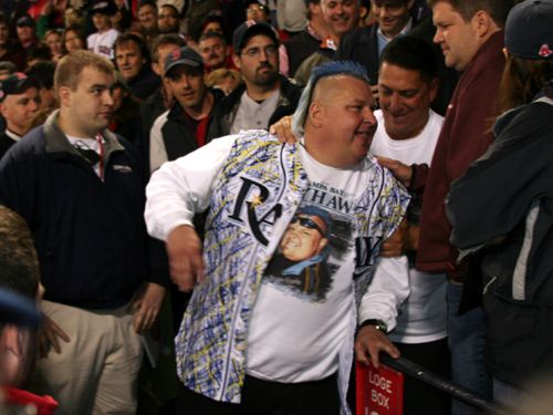 The Red Sox' comeback really took off when Rays appointed 10th man, former pro wrestler, and Hulk Hogan BFF, Brian 'Nasty Boy' Knobbs , got the hook from Fenway in the 8th inning.