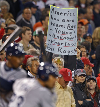 With Tampa up big, this fan held up a sign proclaiming his Rays as America's team.