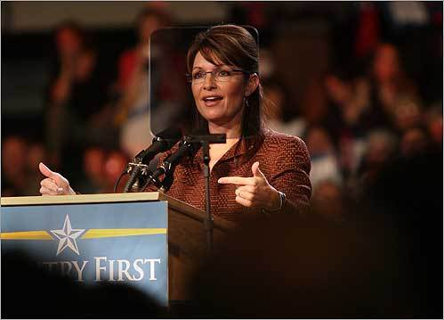 The Republican vice presidential candidate, Governor Sarah Palin of Alaska, addressed a crowd of supporters during a rally on Oct. 15 at Dover High School in Dover, N.H.