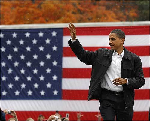 Barack Obama waved to supporters as he walked on the stage during his campaign stop at Mack's Apples on Oct. 16. in Londonderry, N.H.