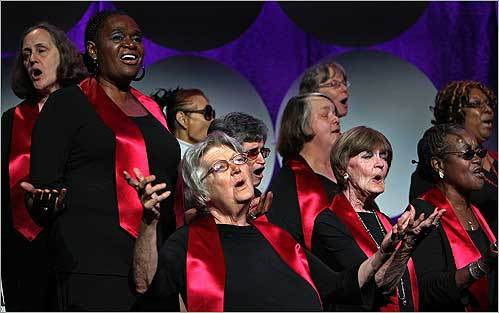 Members of the Rosie's Place Jazz Choir, made up of guests of Rosie's Place, sang on Oct. 16 at Hynes Convention Center during the Rosie's Place luncheon. The annual event celebrates the mission of Rosie's Place and raises funds for programs and services.